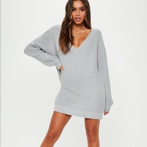 Missguided gray knitted dress